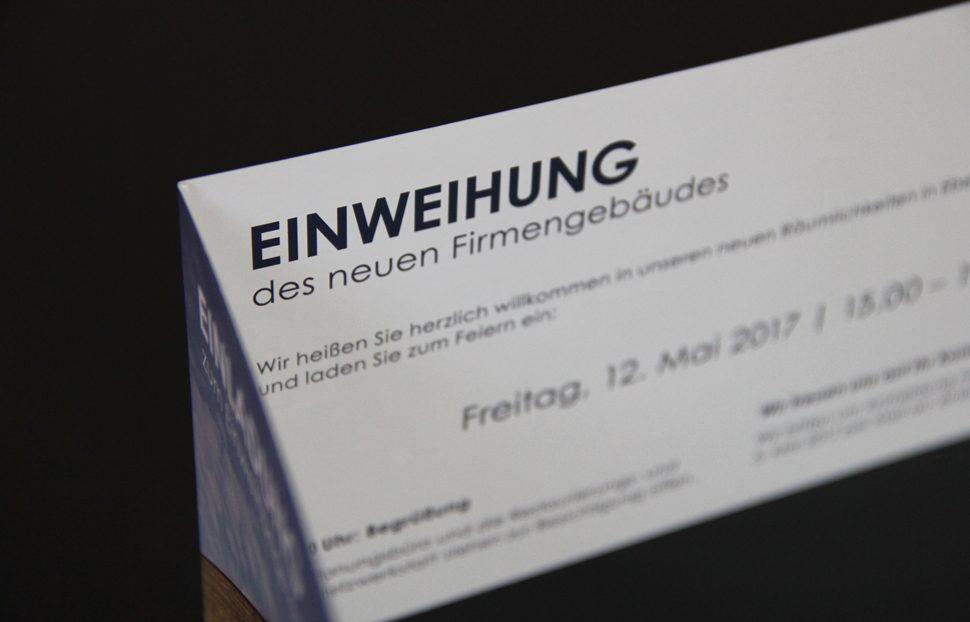 Einladungskarte zum Einweihungsfest des neuen Firmengebäudes ...